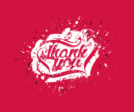 writting: Thank You Hand lettering typographical vector background.