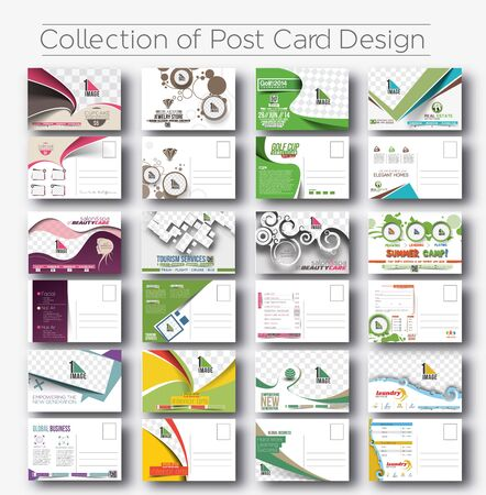 beauty salon: Mega Collection of Postcard Design for Opening invitation Bundle. Illustration