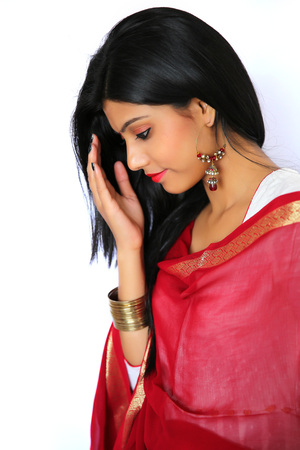 salwar: Beautiful Indian girl in traditional Indian salwar shuit.