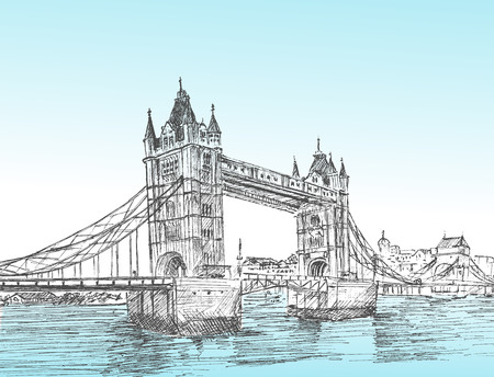 Hand Drawn sketch illustration of Tower Bridge 矢量图像