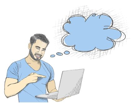 serious business: Young man pointing at laptop screen against white background with thinking bubble.