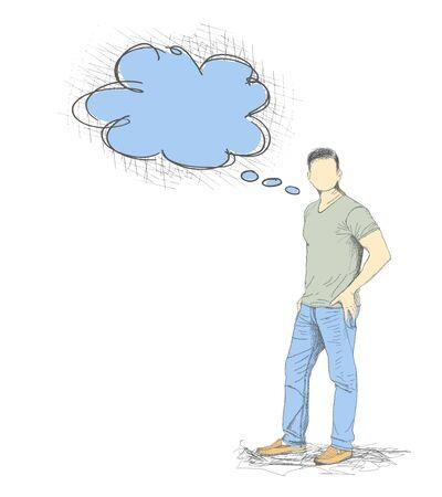 preguntando: Skech del hombre joven con una burbuja de discurso vacío en blanco Backgroud
