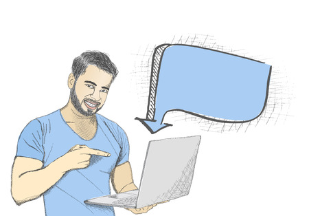 asian man smiling: Young man pointing at laptop screen against white background with thinking bubble.