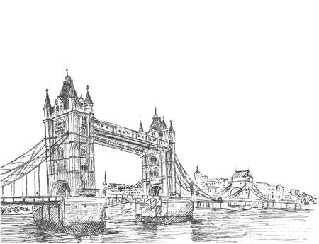 Illustrazione disegnata a mano abbozzo del Tower Bridge, London, UK.