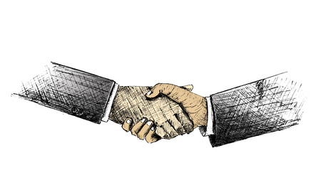 shakes: Sketch of Hand shake between two businessman.Vector Illustration.