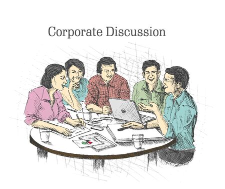 success concept: Hand drawn sketch illustration of Businessmen doing Corporate meeting discussion, planning and teamwork. Illustration