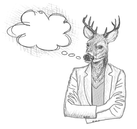 half: Skech of hipster deer with a empty speech bubble on White Backgroud
