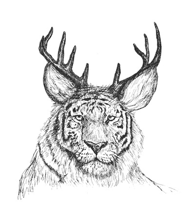 Psychedelic hand-drawn sketch Illustration of tiger face with deer horns. Illustration
