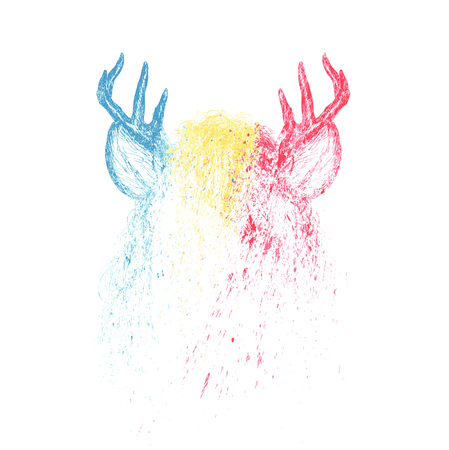 horny: Deer vector colorful paint illustration design