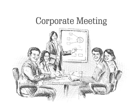 office computer: Hand drawn sketch illustration of Businessmen doing Corporate meeting discussion, planning and teamwork. Illustration