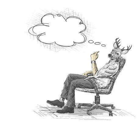 Bürostuhl gezeichnet  Hand Gezeichnete Skizze Vektor-Illustration Von Nachdenklichen ...