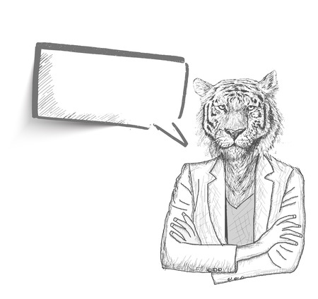 cartoon faces: Hand Drawn sketch illustration of Tiger businessman with a empty speech bubble on White Background