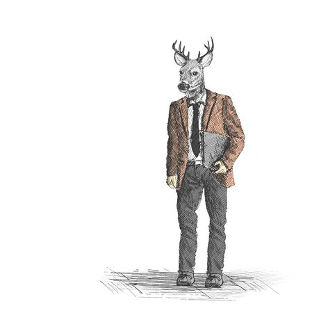asian businessman: Skech of hipster deer business person on White Backgroud