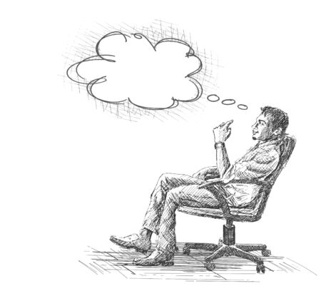 thoughtful: Hand Drawn sketch vector illustration of Thoughtful young businessman sitting on office chair.