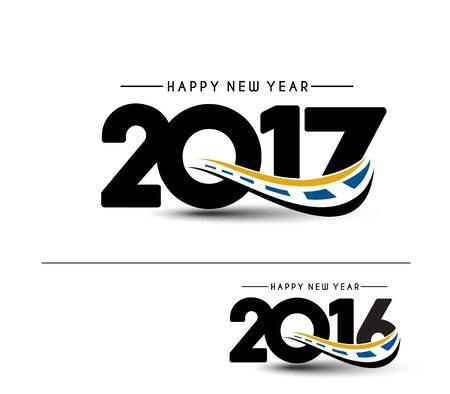 newyear: Happy new year 2017 & 2016 Text Design vector