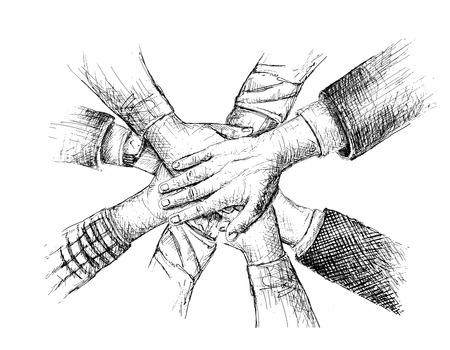 Eenheid van handen schets vector illustratie