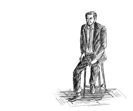 office computer: Hand Sketch Man Sitting on the chair. Illustration