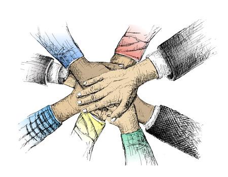 Unité des mains esquisse illustration vectorielle Vecteurs
