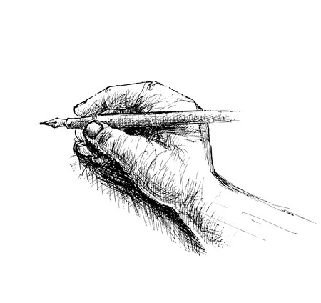 Hand holding pencil sketch isolated on white background vector illustration