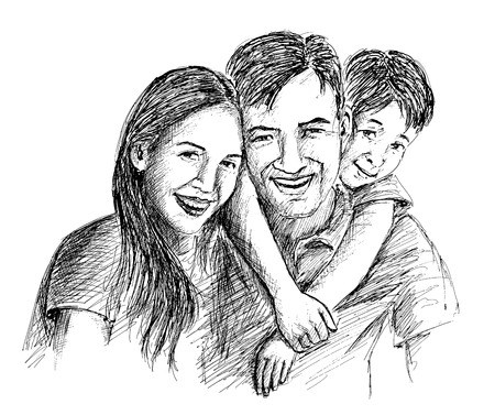 father and son: Hand Sketch of happy family Parents and children. Illustration