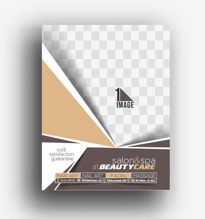 invitation barcode: Beauty Care & Salon Front & Back Flyer & poster Template Illustration