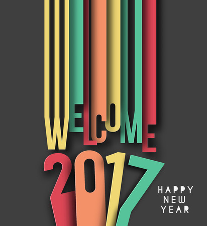 newyear: Happy new year 2017 Text Design vector