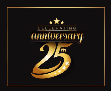 25 年周年記念お祝いデザイン。  イラスト・ベクター素材