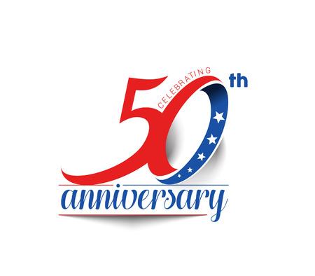 50 Years Anniversary Celebration Design. Stock Illustratie
