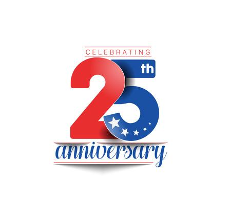 25-ta Years Anniversary Celebration Vector Design.
