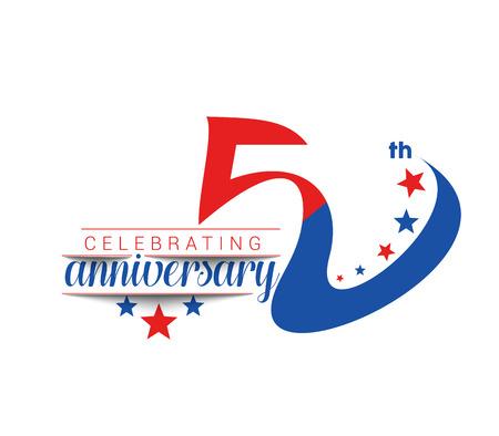 50th: 50th Years Anniversary Celebration Design. Illustration