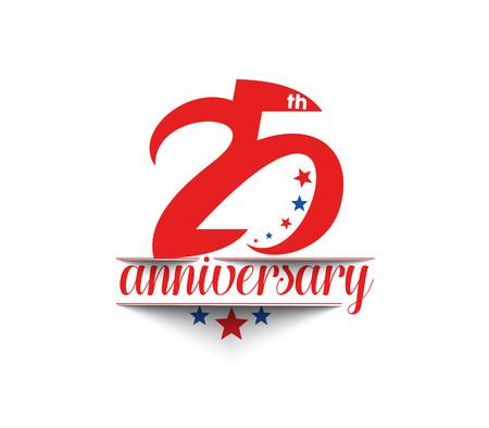20: 25th Years Anniversary Celebration Vector Design. Illustration