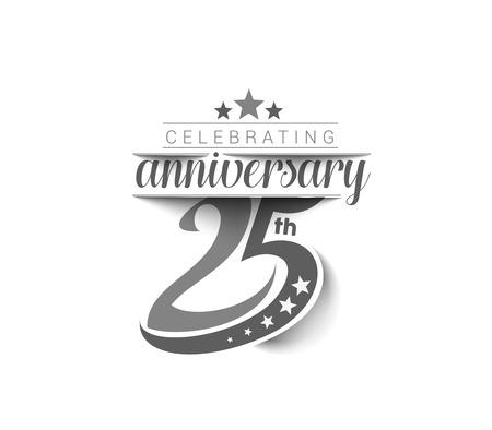 25 ans de célébration d'anniversaire de conception. Vecteurs