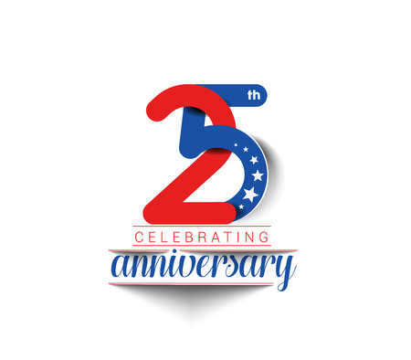 five: 25th Years Anniversary Celebration Vector Design. Illustration
