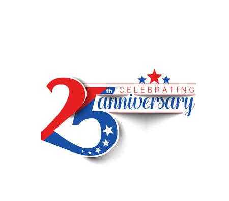 Celebración 25 años de aniversario de diseño vectorial.