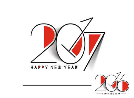 new years resolution: Happy new year 2017 & 2016 Text Design vector