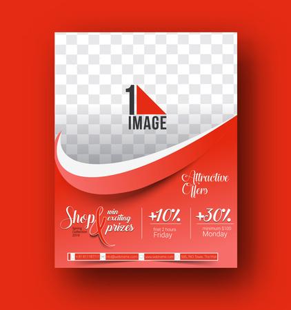 invitation barcode: Shopping Center Store Flyer & Poster Template Illustration