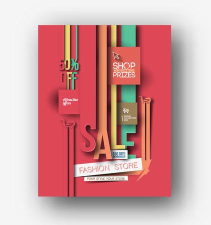 portadas de libros: Centro comercial Tienda folleto y plantilla del cartel Vectores