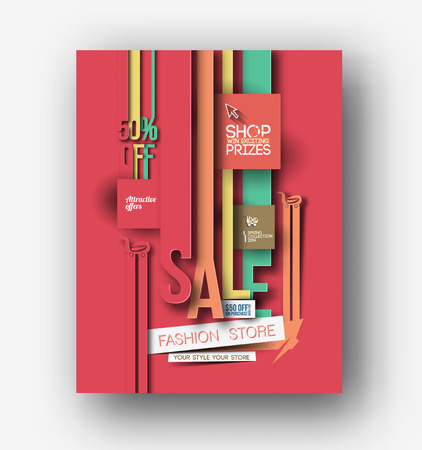 music book: Shopping Center Store Flyer & Poster Template Illustration