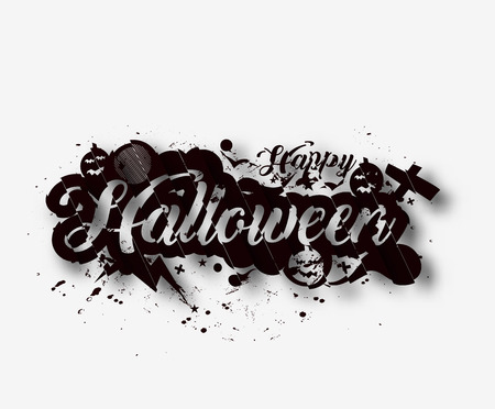 BANNER DESIGN: Happy Halloween greeting card Calligraphy - Text design. Halloween banner or poster.
