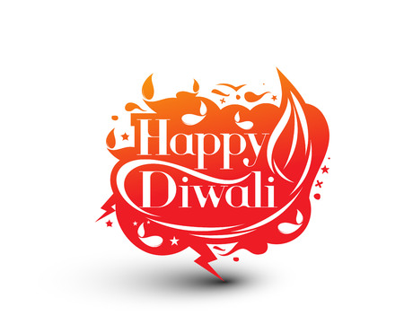 fire crackers: Happy Diwali Text Design Background. Abstract vector illustration.