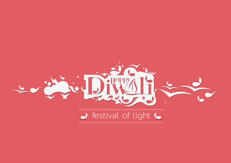 divinity: Happy Diwali Text Design Background. Abstract vector illustration.