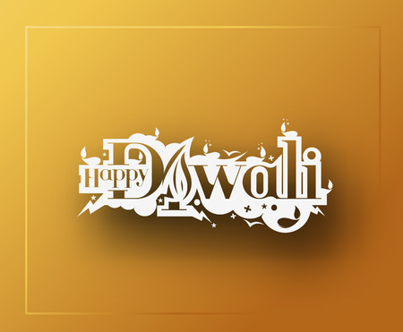 Happy Diwali Text Design Background. Abstract vector illustration.