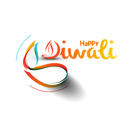 artistic: Happy Diwali Text Design Background. Abstract vector illustration.