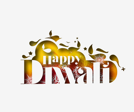 religious event: Happy Diwali Text Design Background. Abstract vector illustration.