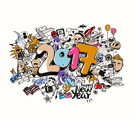 Happy new year 2017 Doodle design elements for holiday cards, for decorations Vector Illustration background