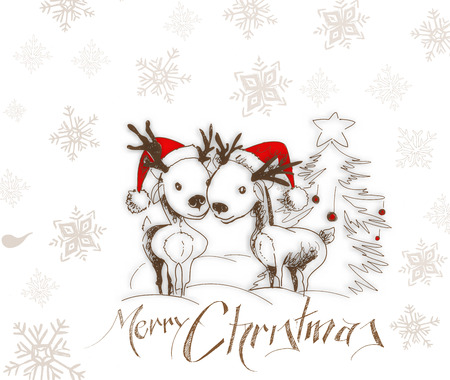 santaclause: Merry Christmas! Cartoon Style Hand Sketchy drawing of couple of reindeer, vector illustration