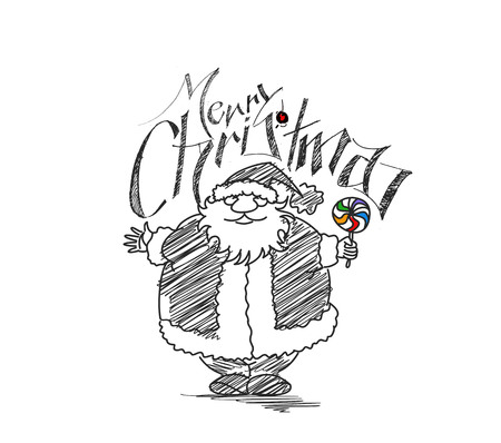christmas funny: Merry Christmas! Cartoon Style Hand Sketchy drawing of a funny Santa Claus Holding Candy with white background, vector illustration