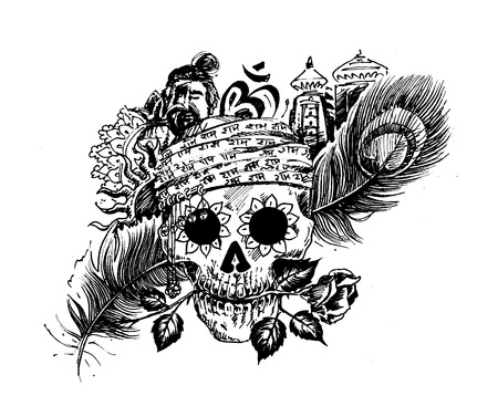 Pirate skull corsair logo - Head of men with rose peacock feather temple for black magic design Illustration