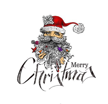 beard man: Face of  christmas character Santa Claus, Cartoon style Santa Claus doodle design. Merry Christmas Text Christmas and New Year - vector illustration Illustration