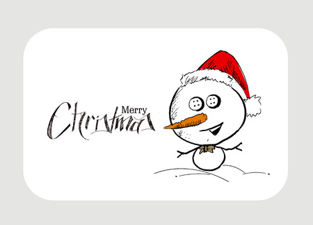 mitten: Merry Christmas! Christmas background with cute Snowman wearing santa claus cap. Christmas design. Vector illustration isolated on white. Illustration
